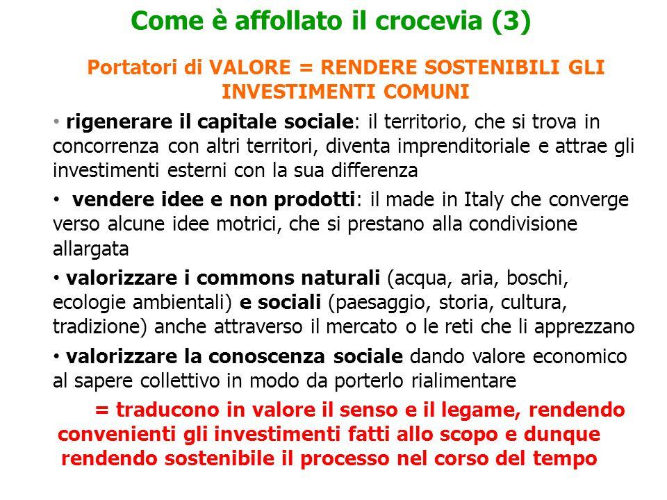 Portatori di VALORE = RENDERE SOSTENIBILI GLI INVESTIMENTI COMUNI rigenerare il capitale sociale: il territorio, che si trova in concorrenza con altri territori, diventa imprenditoriale e attrae gli investimenti esterni con la sua differenza vendere idee e non prodotti: il made in Italy che converge verso alcune idee motrici, che si prestano alla condivisione allargata valorizzare i commons naturali (acqua, aria, boschi, ecologie ambientali) e sociali (paesaggio, storia, cultura, tradizione) anche attraverso il mercato o le reti che li apprezzano valorizzare la conoscenza sociale dando valore economico al sapere collettivo in modo da porterlo rialimentare = traducono in valore il senso e il legame, rendendo convenienti gli investimenti fatti allo scopo e dunque rendendo sostenibile il processo nel corso del tempo Come è affollato il crocevia (3)