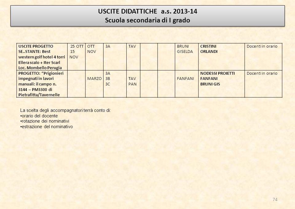 USCITE DIDATTICHE a.s.2013-14 Scuola secondaria di I grado USCITE DIDATTICHE a.s.