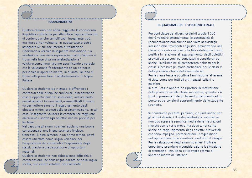 I QUADRIMESTRE Qualora l'alunno non abbia raggiunto la conoscenza linguistica sufficiente per affrontare l'apprendimento di contenuti anche semplificati l'insegnante può: decidere di non valutarlo.
