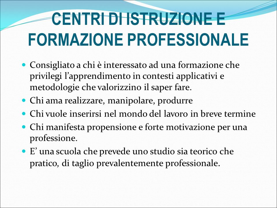 CENTRI DI ISTRUZIONE E FORMAZIONE PROFESSIONALE COMPARTO ABBIGLIAMENTO E MODAOperatore dell'abbigliamento ENGIM ISTITUTO TURAZZA COMPARTO ALIMENTAZIONE RISTORAZIONE Pasticcere/panificatore CFP PROVINCIALE LANCENIGO COMPARTO SERVIZI BENESSEREIndirizzo acconciatura CFP PROVINCIALE LANCENIGO ENGIM ISTITUTO TURAZZA ACCADEMIA LA PARIGINA CFP I.P.E.A.