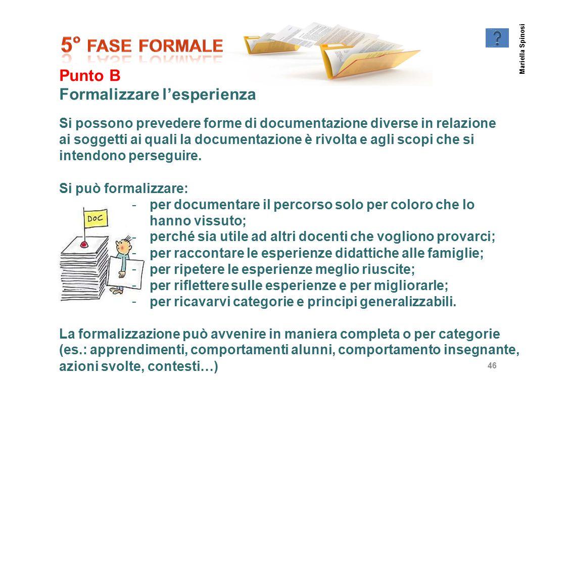 Punto B Formalizzare l'esperienza Si possono prevedere forme di documentazione diverse in relazione ai soggetti ai quali la documentazione è rivolta e