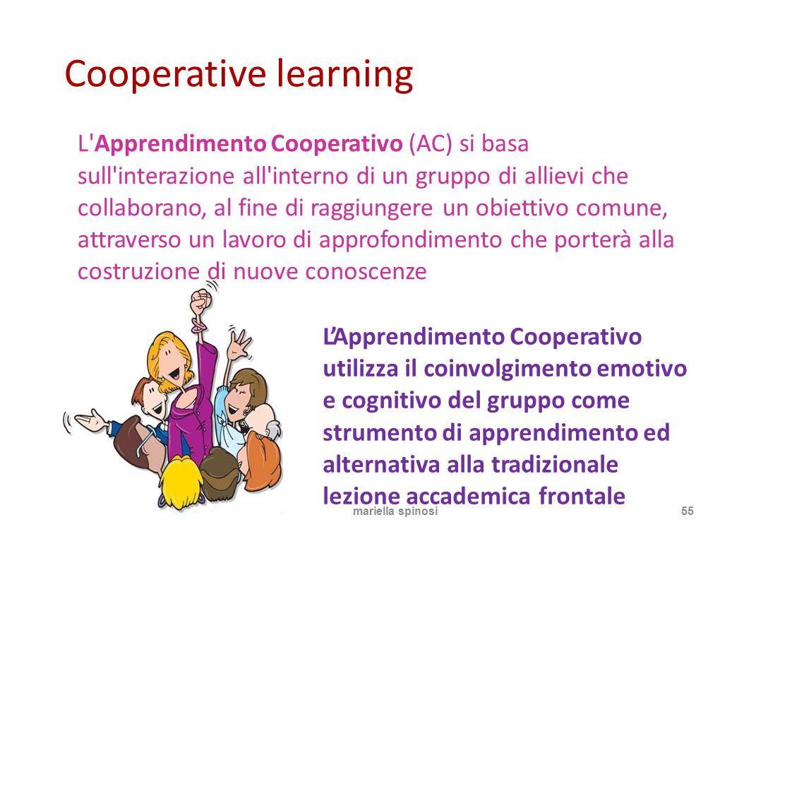 Cooperative learning L'Apprendimento Cooperativo (AC) si basa sull'interazione all'interno di un gruppo di allievi che collaborano, al fine di raggiun