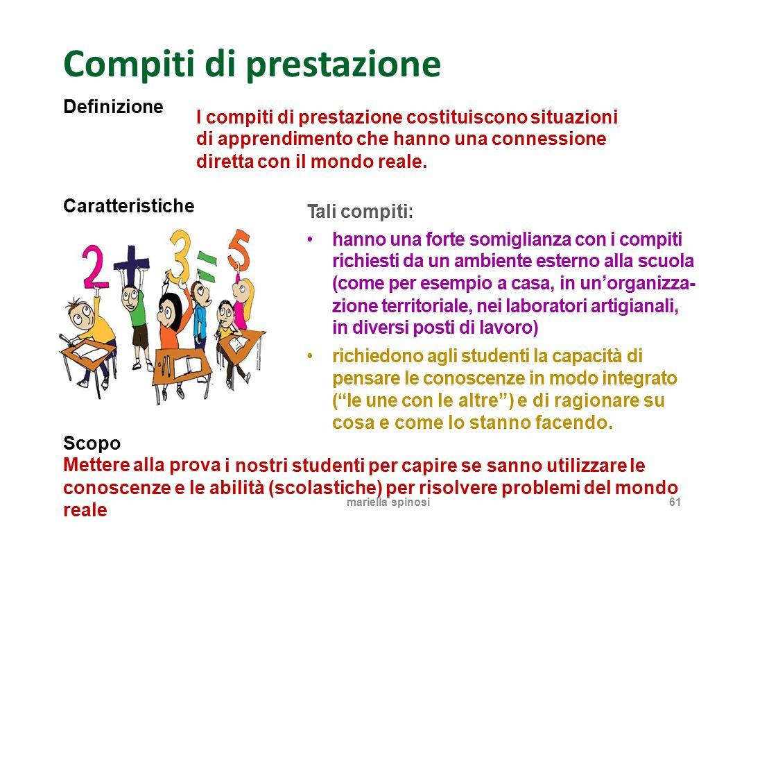 Compiti di prestazione Definizione I compiti di prestazione costituiscono situazioni di apprendimento che hanno una connessione direttaconil mondo rea