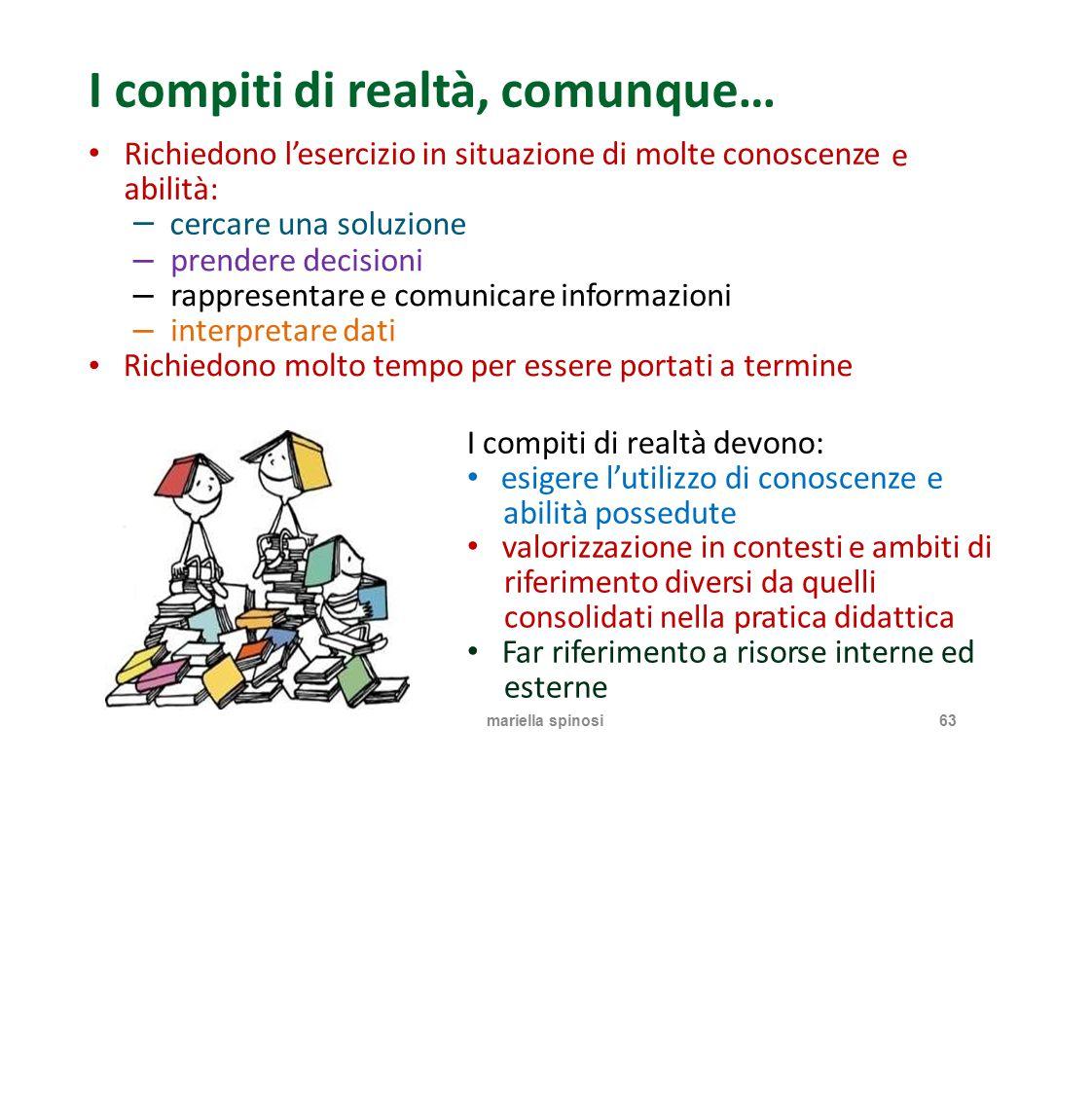 I compiti di realtà, comunque… Richiedono l'esercizio in situazione di molte conoscenze abilità: − cercare una soluzione e −−−−−− prendere decisioni r