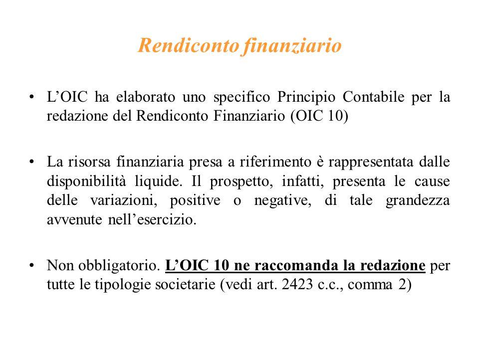 Rendiconto finanziario L'OIC ha elaborato uno specifico Principio Contabile per la redazione del Rendiconto Finanziario (OIC 10) La risorsa finanziaria presa a riferimento è rappresentata dalle disponibilità liquide.