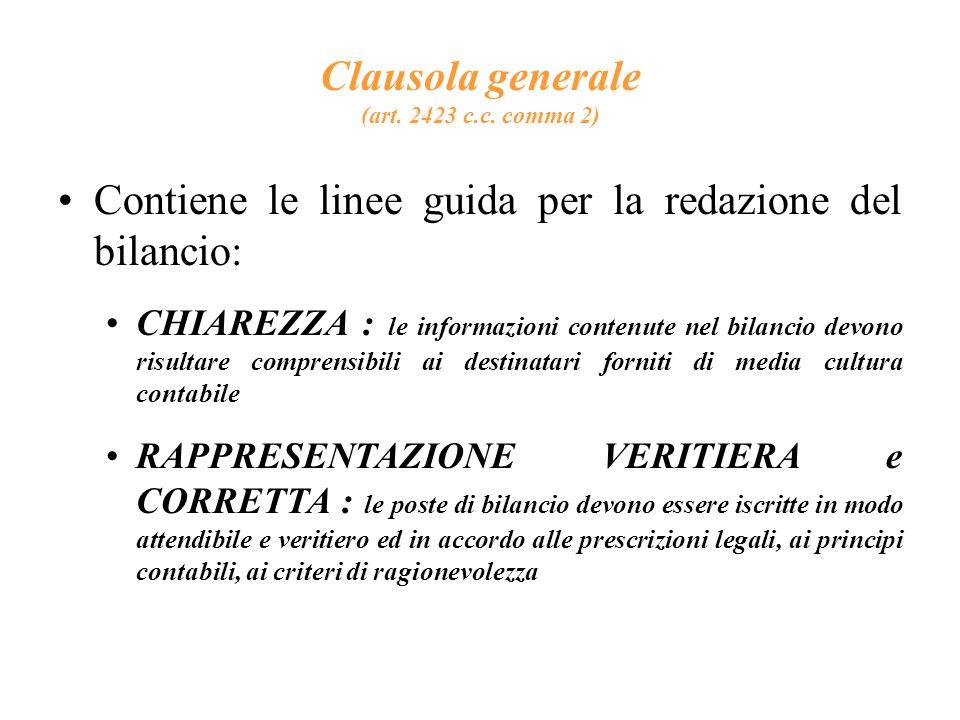 Clausola generale (art.2423 c.c.