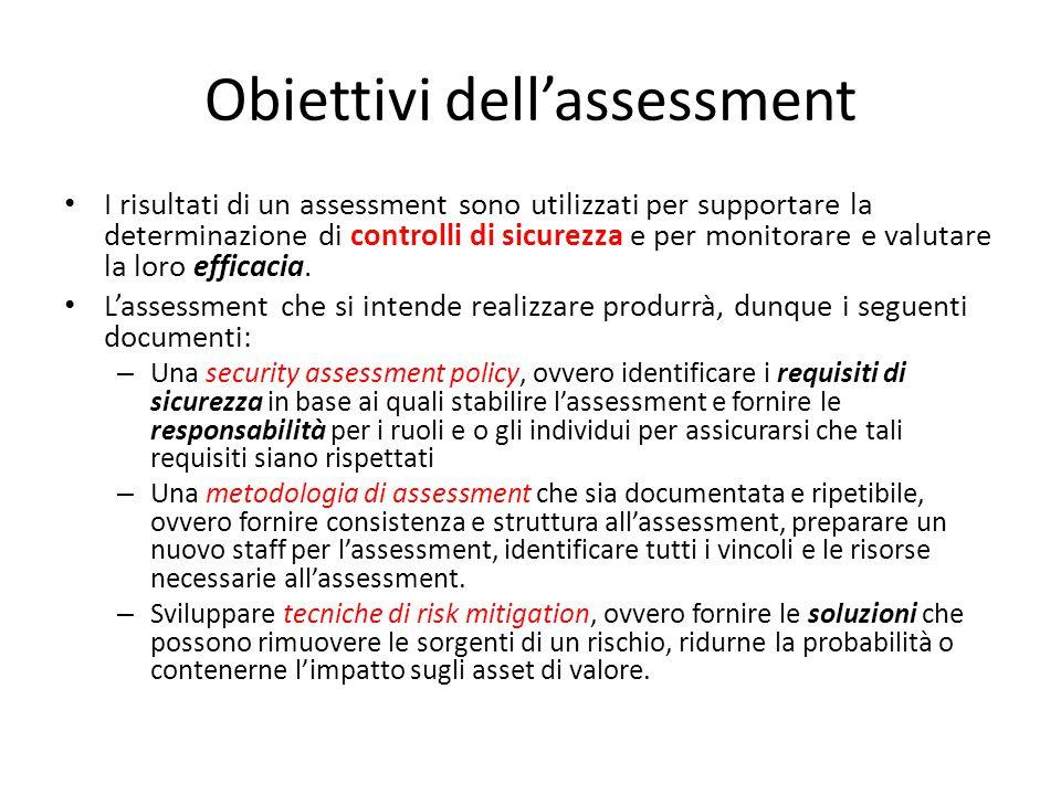 Obiettivi dell'assessment I risultati di un assessment sono utilizzati per supportare la determinazione di controlli di sicurezza e per monitorare e v