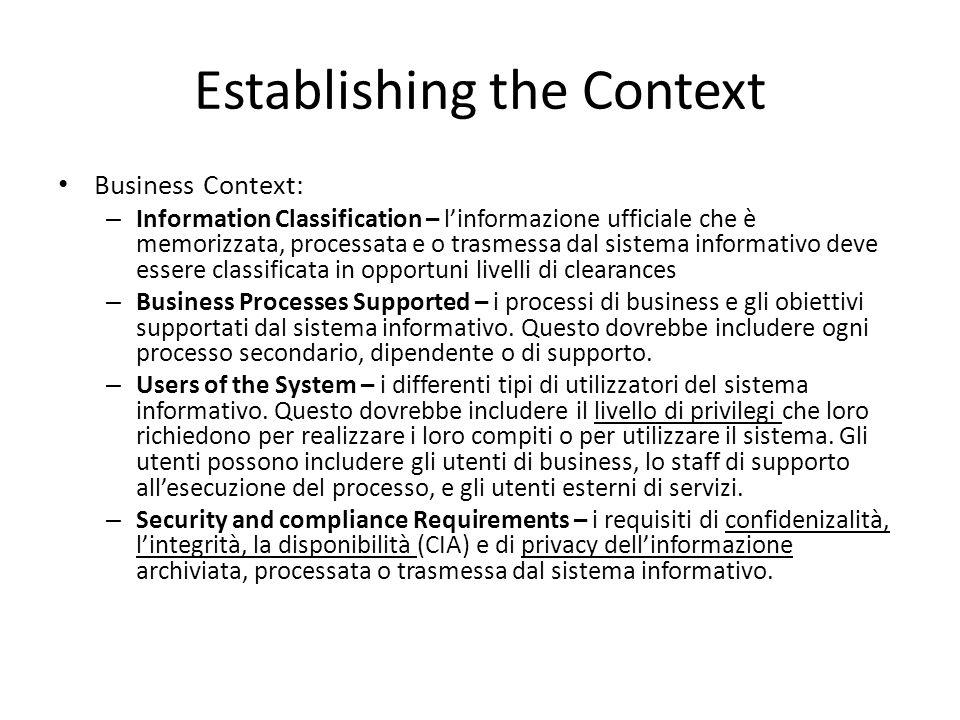Establishing the Context Business Context: – Information Classification – l'informazione ufficiale che è memorizzata, processata e o trasmessa dal sis
