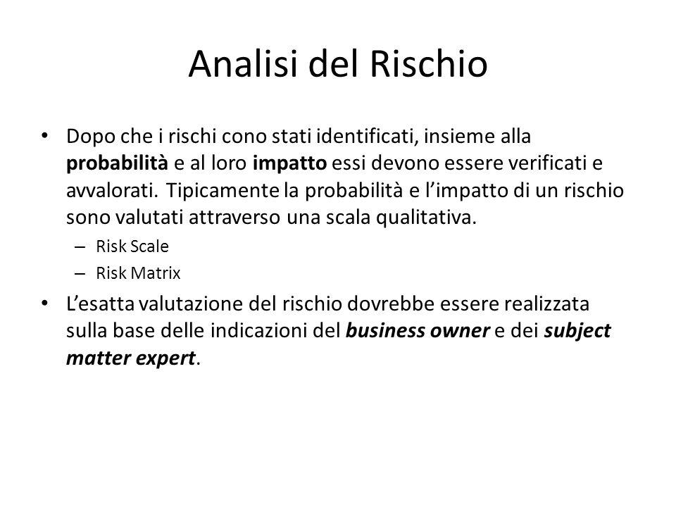 Analisi del Rischio Dopo che i rischi cono stati identificati, insieme alla probabilità e al loro impatto essi devono essere verificati e avvalorati.