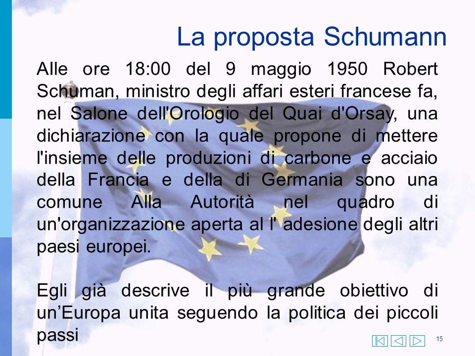 15 AIle ore 18:00 del 9 maggio 1950 Robert Schuman, ministro degli affari esteri francese fa, nel Salone dell'Orologio del Quai d'Orsay, una dichiaraz