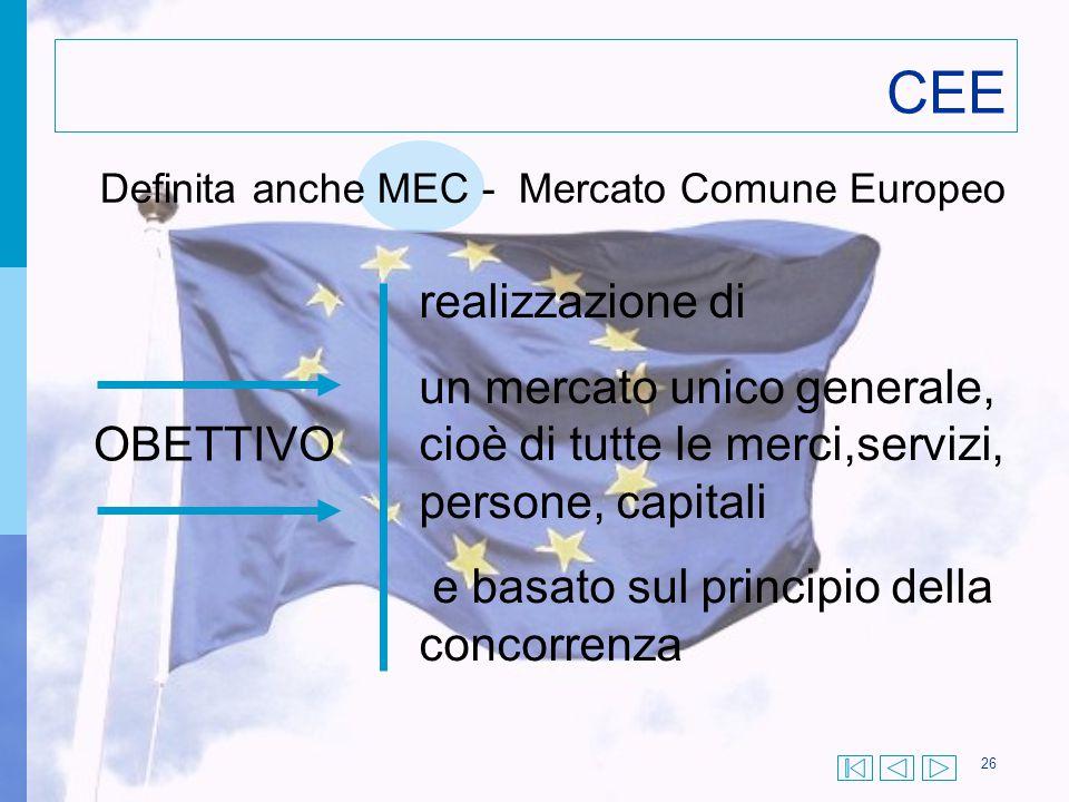 26 CEE Definita anche MEC - Mercato Comune Europeo OBETTIVO realizzazione di un mercato unico generale, cioè di tutte le merci,servizi, persone, capit
