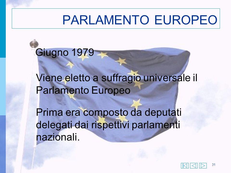 31 PARLAMENTO EUROPEO Giugno 1979 Viene eletto a suffragio universale il Parlamento Europeo Prima era composto da deputati delegati dai rispettivi par