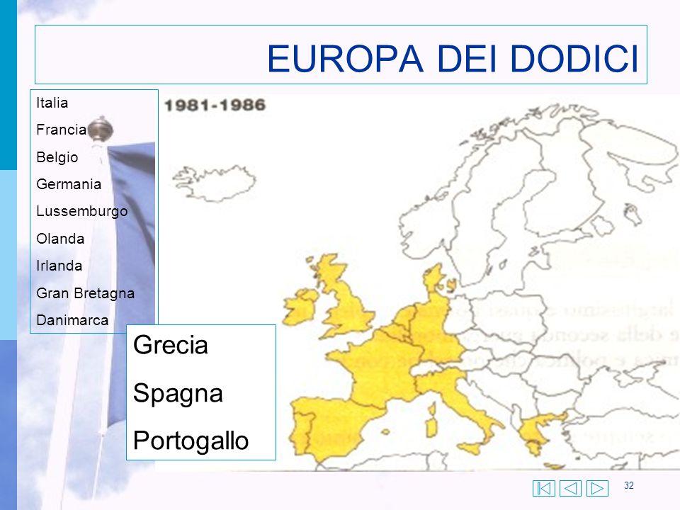 32 EUROPA DEI DODICI Italia Francia Belgio Germania Lussemburgo Olanda Irlanda Gran Bretagna Danimarca Grecia Spagna Portogallo
