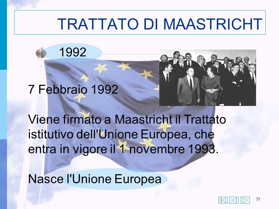 35 TRATTATO DI MAASTRICHT 7 Febbraio 1992 Viene firmato a Maastricht il Trattato istitutivo dell'Unione Europea, che entra in vigore il 1 novembre 199