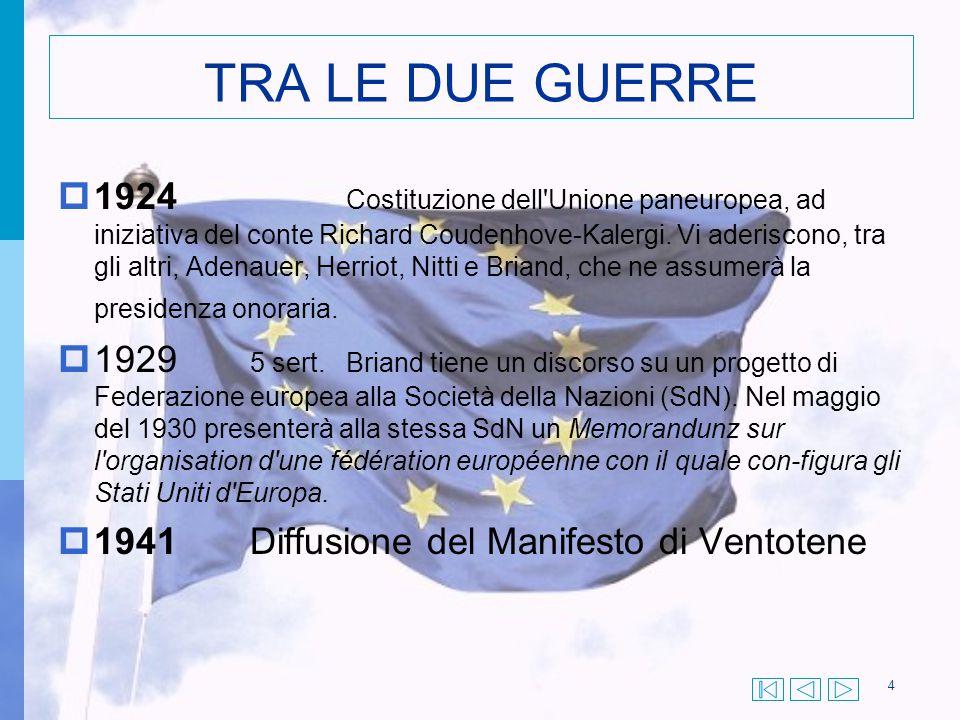 TRA LE DUE GUERRE  1924 Costituzione dell'Unione paneuropea, ad iniziativa del conte Richard Coudenhove-Kalergi. Vi aderiscono, tra gli altri, Adenau