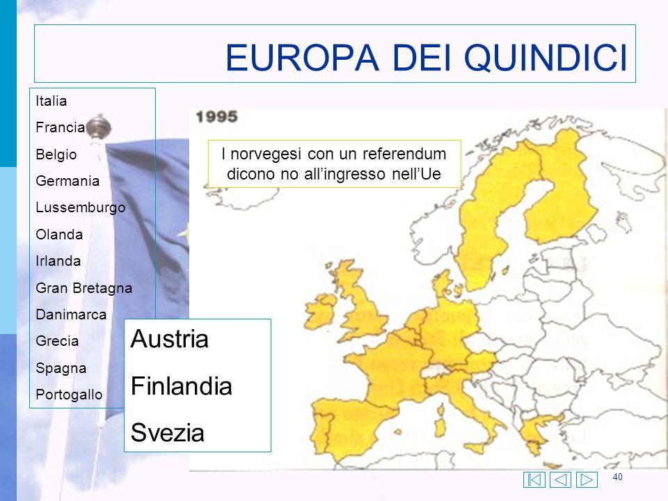 40 EUROPA DEI QUINDICI Italia Francia Belgio Germania Lussemburgo Olanda Irlanda Gran Bretagna Danimarca Grecia Spagna Portogallo Austria Finlandia Sv