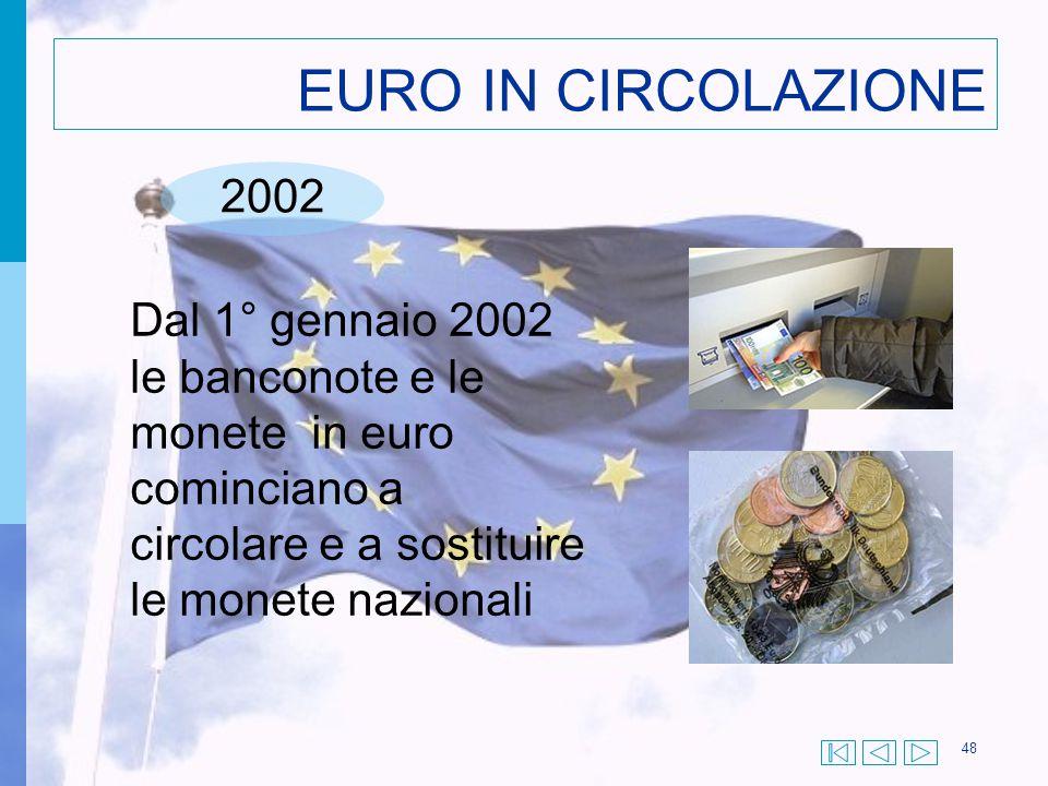 48 EURO IN CIRCOLAZIONE 2002 Dal 1° gennaio 2002 le banconote e le monete in euro cominciano a circolare e a sostituire le monete nazionali