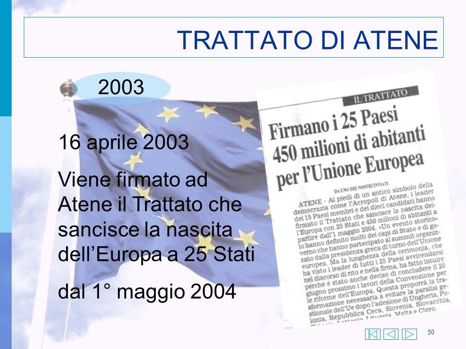 50 TRATTATO DI ATENE 2003 16 aprile 2003 Viene firmato ad Atene il Trattato che sancisce la nascita dell'Europa a 25 Stati dal 1° maggio 2004