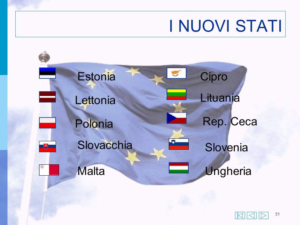 51 I NUOVI STATI Estonia Lettonia Polonia Slovacchia Malta Cipro Lituania Rep. Ceca Slovenia Ungheria