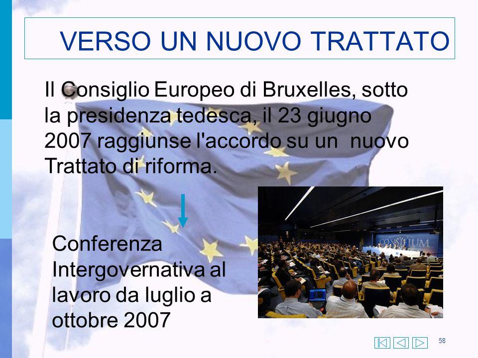 58 VERSO UN NUOVO TRATTATO Il Consiglio Europeo di Bruxelles, sotto la presidenza tedesca, il 23 giugno 2007 raggiunse l'accordo su un nuovo Trattato