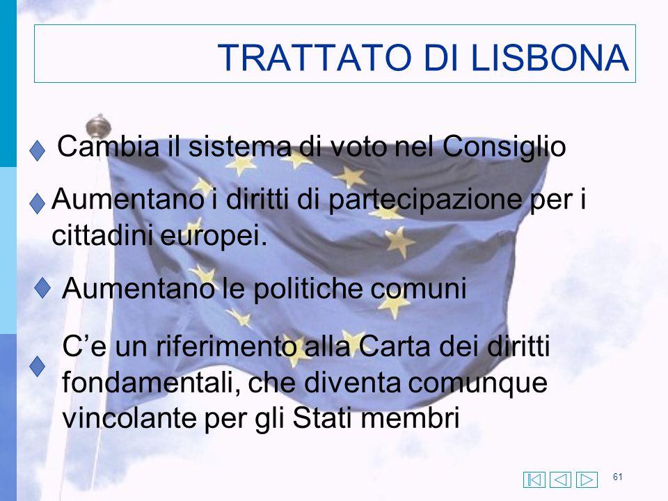61 TRATTATO DI LISBONA Cambia il sistema di voto nel Consiglio Aumentano i diritti di partecipazione per i cittadini europei. Aumentano le politiche c