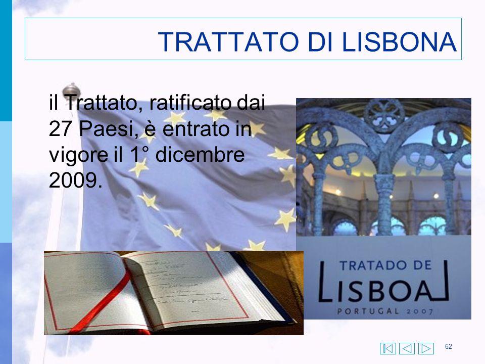 62 TRATTATO DI LISBONA il Trattato, ratificato dai 27 Paesi, è entrato in vigore il 1° dicembre 2009.