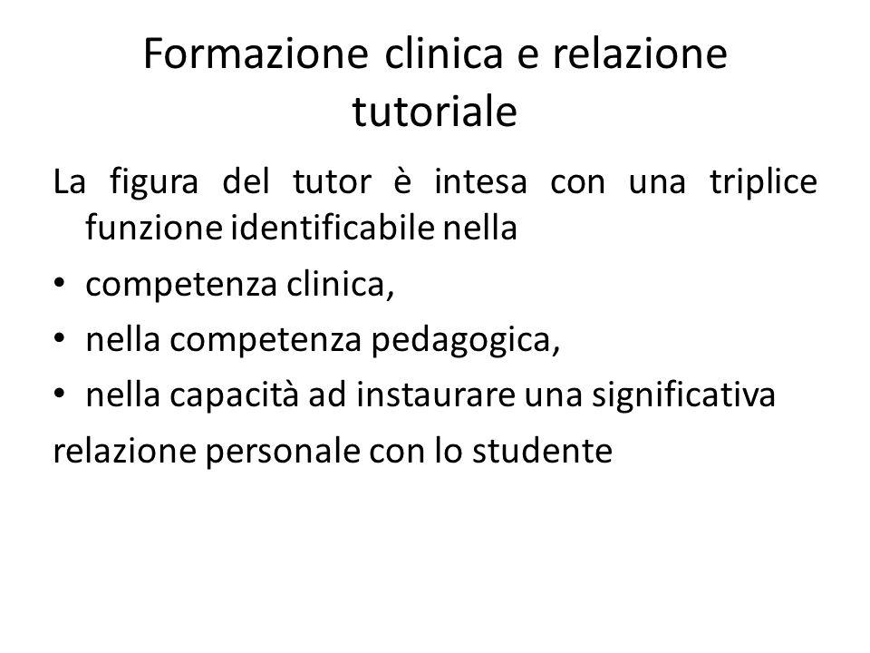 Formazione clinica e relazione tutoriale La figura del tutor è intesa con una triplice funzione identificabile nella competenza clinica, nella competenza pedagogica, nella capacità ad instaurare una significativa relazione personale con lo studente