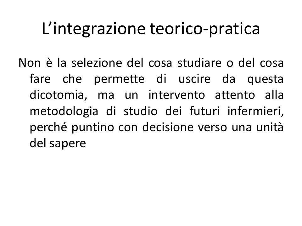L'integrazione teorico-pratica Non è la selezione del cosa studiare o del cosa fare che permette di uscire da questa dicotomia, ma un intervento attento alla metodologia di studio dei futuri infermieri, perché puntino con decisione verso una unità del sapere