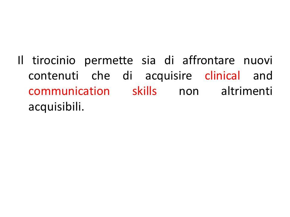Il tirocinio permette sia di affrontare nuovi contenuti che di acquisire clinical and communication skills non altrimenti acquisibili.