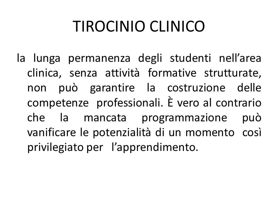TIROCINIO CLINICO la lunga permanenza degli studenti nell'area clinica, senza attività formative strutturate, non può garantire la costruzione delle competenze professionali.