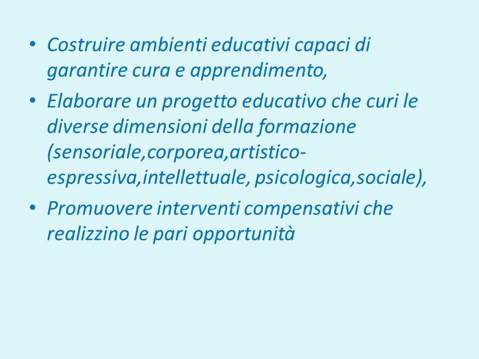 Costruire ambienti educativi capaci di garantire cura e apprendimento, Elaborare un progetto educativo che curi le diverse dimensioni della formazione (sensoriale,corporea,artistico- espressiva,intellettuale, psicologica,sociale), Promuovere interventi compensativi che realizzino le pari opportunità