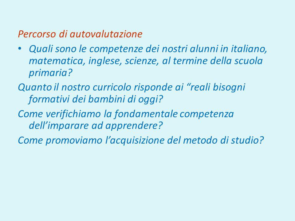 Percorso di autovalutazione Quali sono le competenze dei nostri alunni in italiano, matematica, inglese, scienze, al termine della scuola primaria.