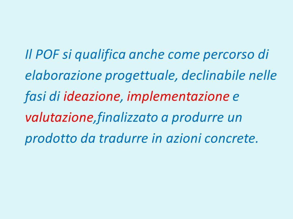 Il POF si qualifica anche come percorso di elaborazione progettuale, declinabile nelle fasi di ideazione, implementazione e valutazione,finalizzato a produrre un prodotto da tradurre in azioni concrete.