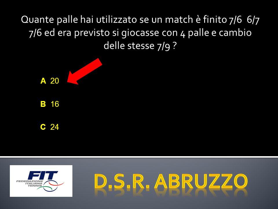 Quante palle hai utilizzato se un match è finito 7/6 6/7 7/6 ed era previsto si giocasse con 4 palle e cambio delle stesse 7/9 .