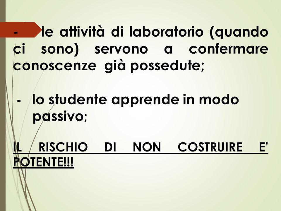 - le attività di laboratorio (quando ci sono) servono a confermare conoscenze già possedute; - lo studente apprende in modo passivo ; IL RISCHIO DI NON COSTRUIRE E' POTENTE!!!