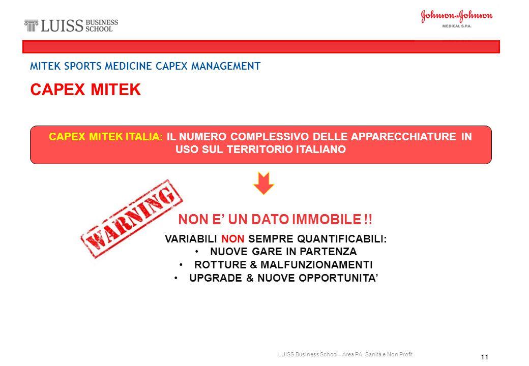 11 LUISS Business School – Area PA, Sanità e Non Profit CAPEX MITEK CAPEX MITEK ITALIA: IL NUMERO COMPLESSIVO DELLE APPARECCHIATURE IN USO SUL TERRITO