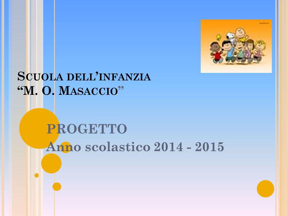 S CUOLA DELL ' INFANZIA M. O. M ASACCIO PROGETTO Anno scolastico 2014 - 2015