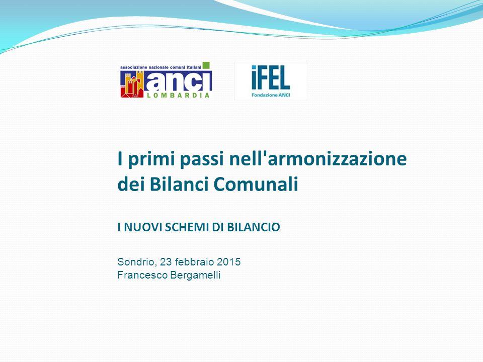 I primi passi nell'armonizzazione dei Bilanci Comunali I NUOVI SCHEMI DI BILANCIO Sondrio, 23 febbraio 2015 Francesco Bergamelli