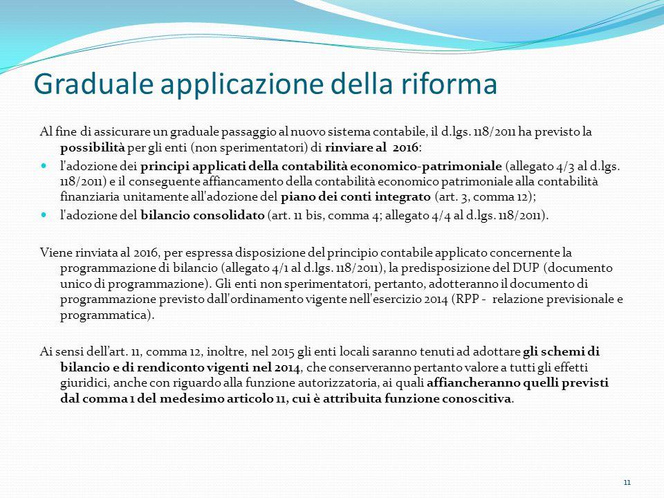 Graduale applicazione della riforma Al fine di assicurare un graduale passaggio al nuovo sistema contabile, il d.lgs. 118/2011 ha previsto la possibil