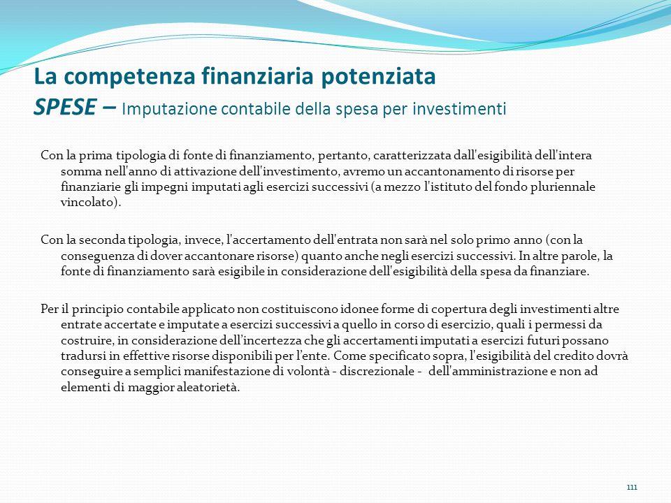 La competenza finanziaria potenziata SPESE – Imputazione contabile della spesa per investimenti Con la prima tipologia di fonte di finanziamento, pert