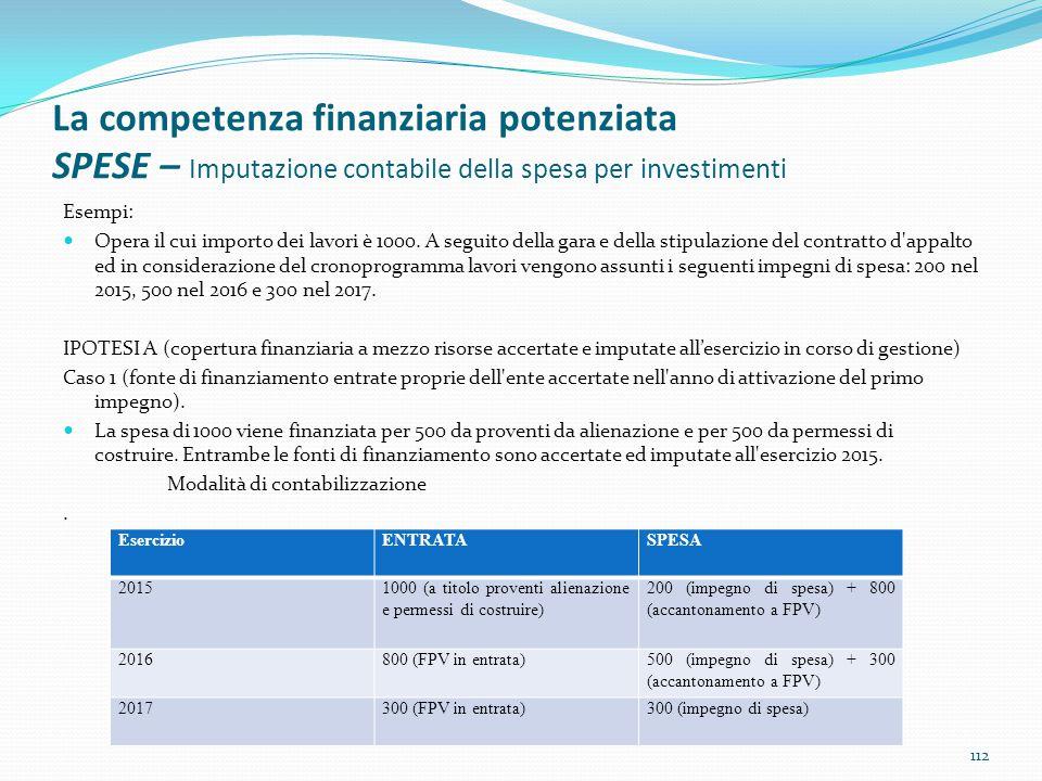 La competenza finanziaria potenziata SPESE – Imputazione contabile della spesa per investimenti Esempi: Opera il cui importo dei lavori è 1000. A segu