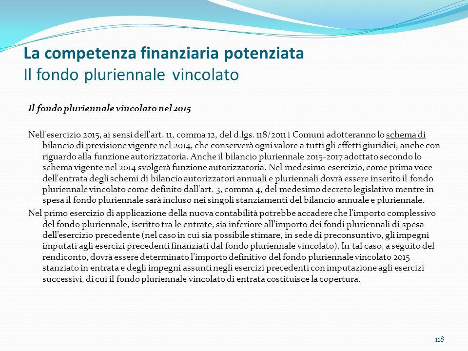 La competenza finanziaria potenziata Il fondo pluriennale vincolato Il fondo pluriennale vincolato nel 2015 Nell'esercizio 2015, ai sensi dell'art. 11