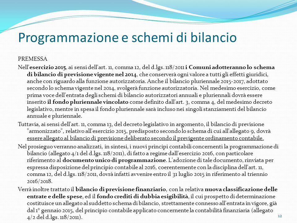 Programmazione e schemi di bilancio PREMESSA Nell'esercizio 2015, ai sensi dell'art. 11, comma 12, del d.lgs. 118/2011 i Comuni adotteranno lo schema