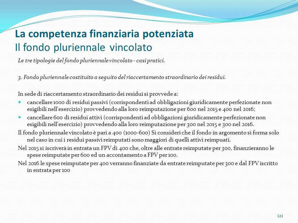 La competenza finanziaria potenziata Il fondo pluriennale vincolato Le tre tipologie del fondo pluriennale vincolato - casi pratici. 3. Fondo plurienn