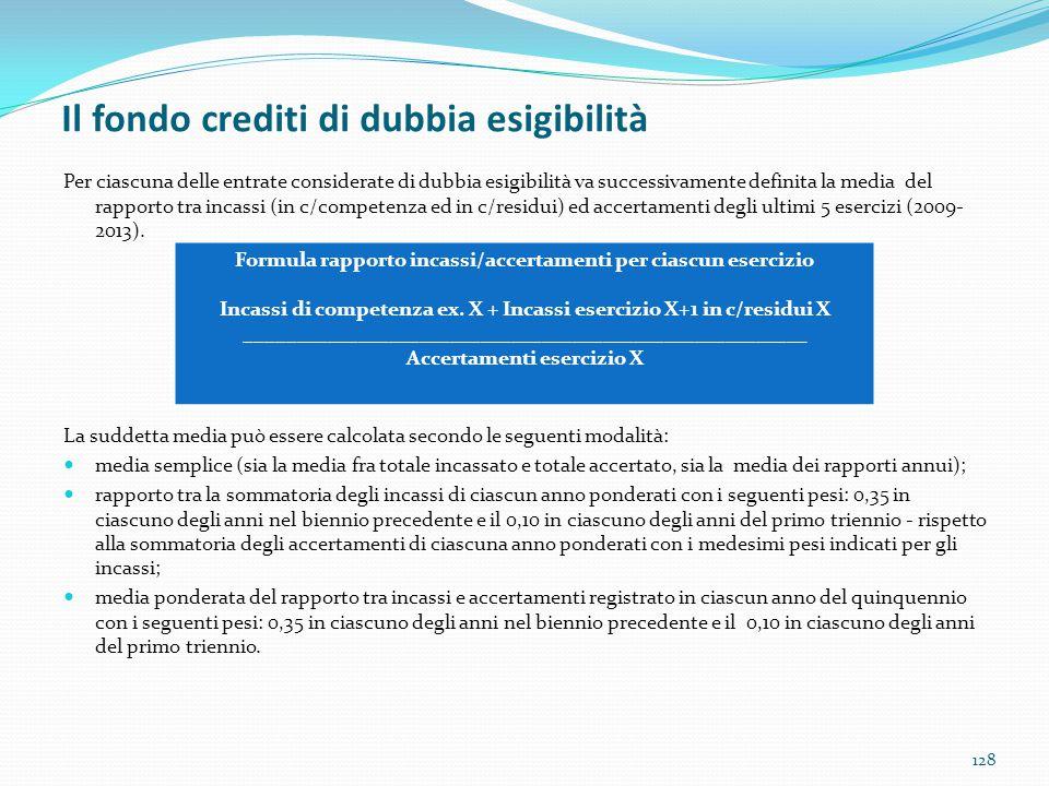 Il fondo crediti di dubbia esigibilità 128 Per ciascuna delle entrate considerate di dubbia esigibilità va successivamente definita la media del rappo