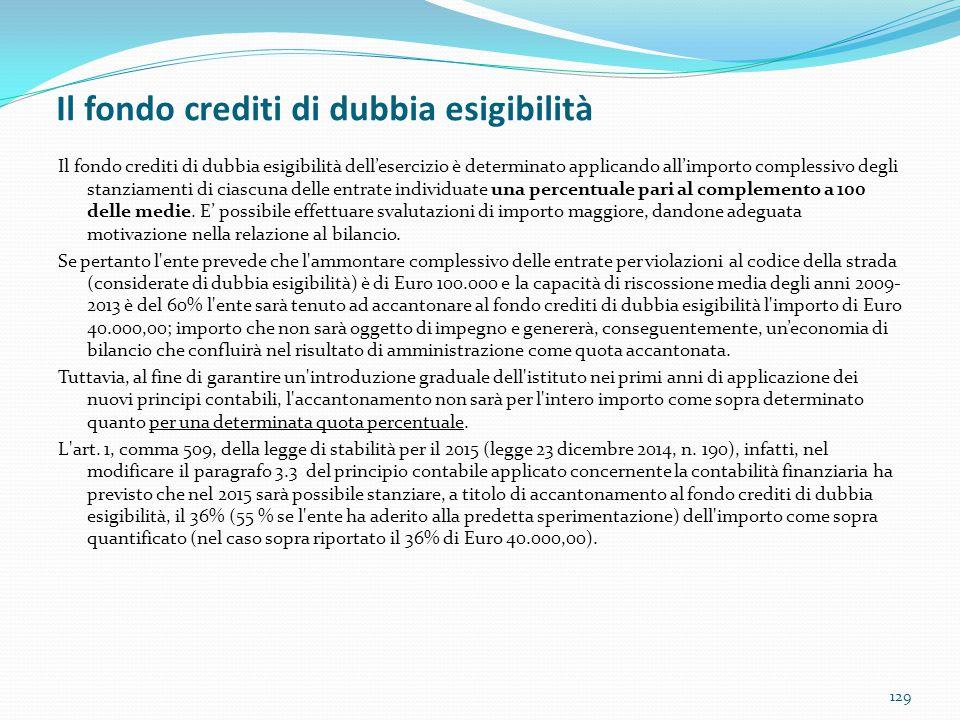 Il fondo crediti di dubbia esigibilità 129 Il fondo crediti di dubbia esigibilità dell'esercizio è determinato applicando all'importo complessivo degl