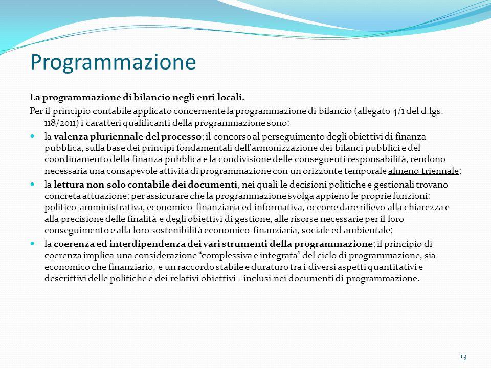 Programmazione La programmazione di bilancio negli enti locali. Per il principio contabile applicato concernente la programmazione di bilancio (allega
