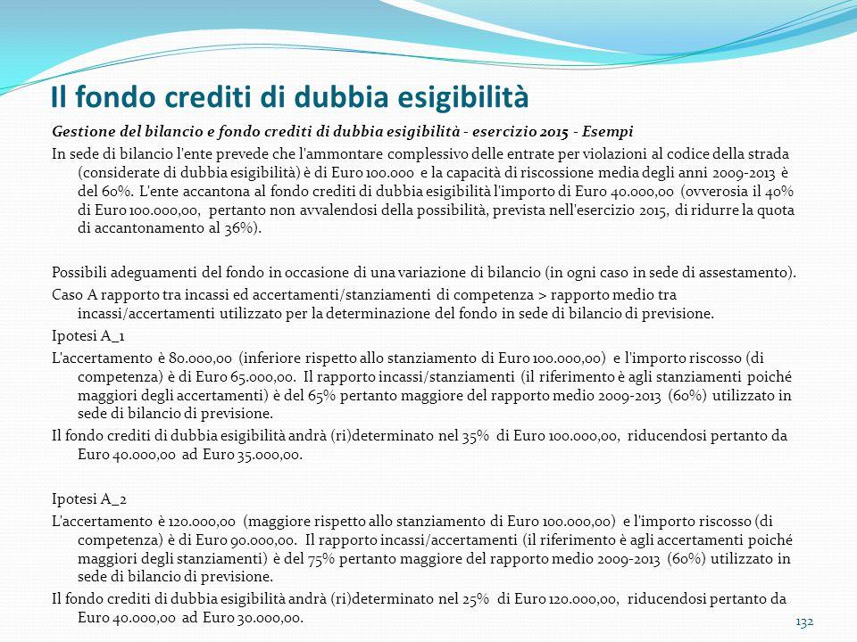Il fondo crediti di dubbia esigibilità 132 Gestione del bilancio e fondo crediti di dubbia esigibilità - esercizio 2015 - Esempi In sede di bilancio l