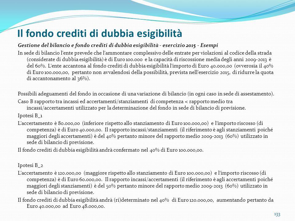 Il fondo crediti di dubbia esigibilità 133 Gestione del bilancio e fondo crediti di dubbia esigibilità - esercizio 2015 - Esempi In sede di bilancio l
