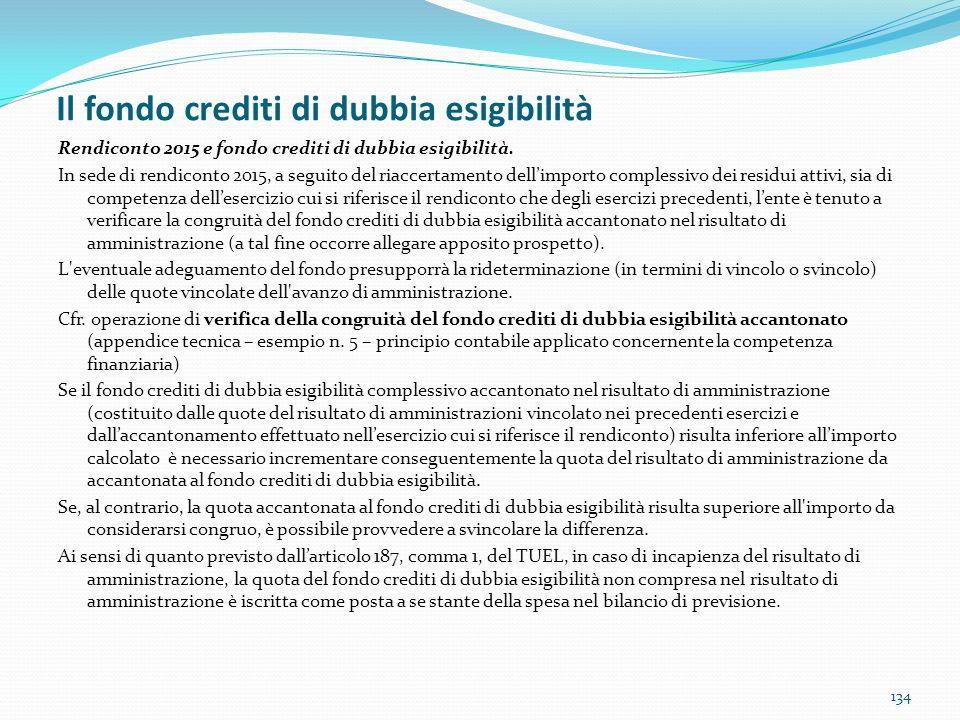 Il fondo crediti di dubbia esigibilità 134 Rendiconto 2015 e fondo crediti di dubbia esigibilità. In sede di rendiconto 2015, a seguito del riaccertam